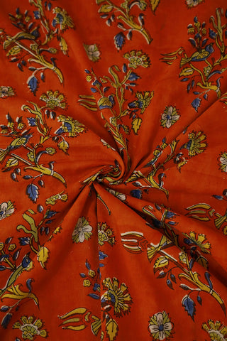 Dark Orange Mul Cotton Sanganeri fabric