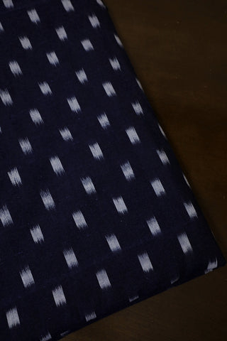 Blackish Blue Handwoven Ikat Cotton Fabric