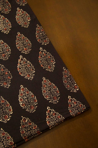 Black Intricate Leaf Ajrak Cotton Fabric