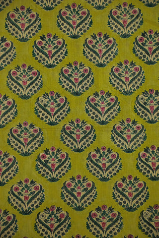 Shades of Green Mul Cotton Sanganeri fabric