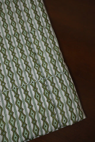Dots ans Lines in Off White Sanganeri Cotton Fabric