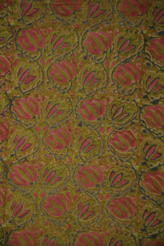 Light Green and Pink Floral Mul Cotton Sanganeri fabric