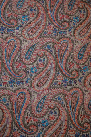 Paisley in Light Grey Mul Cotton Sanganeri fabric