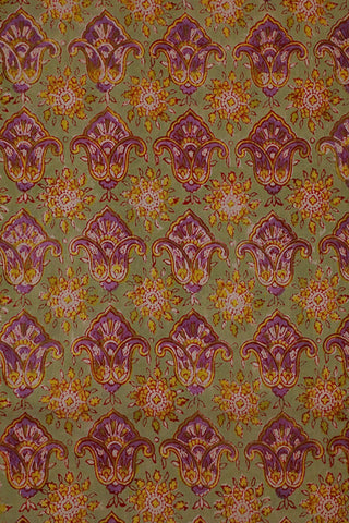 Violet Floral in Light Greyish Green Mul Cotton Sanganeri fabric