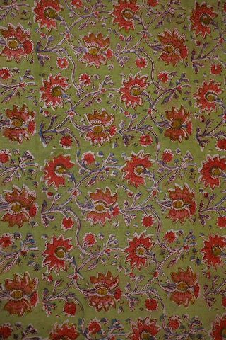 Light Greyish Green Mul Cotton Sanganeri fabric