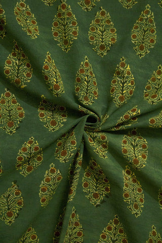 Moss Green with Maroon Intricate Leaf Ajrak Cotton Fabric