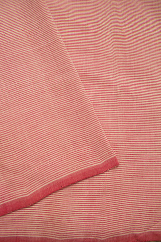 Pink Pin Stripe Lines Handwoven Mangalagiri Cotton Fabric