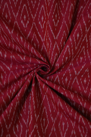 Reddish Pink Mercerized Ikat Cotton Fabric