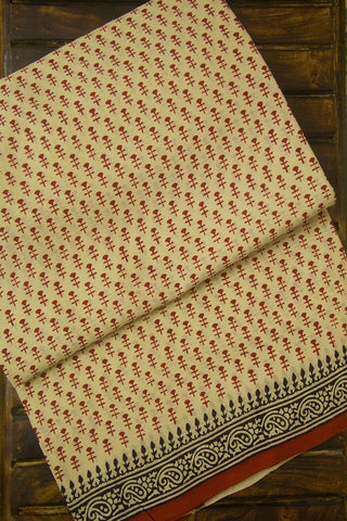 Light Beige with Maroon Bagru Print Mul Cotton Saree