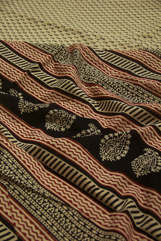 Off White with Black Bagru Print Mul Cotton Saree