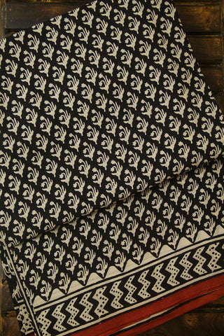 Off White Floral Bagru Print Mul Cotton Saree