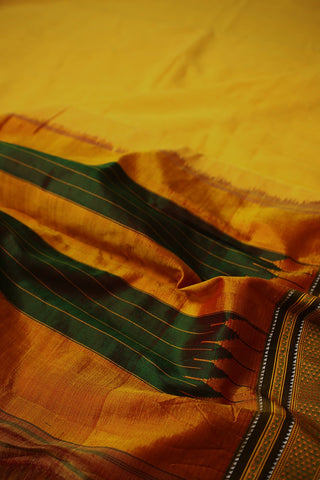 Bright Yellow with Green Thread Border Ilkal Saree