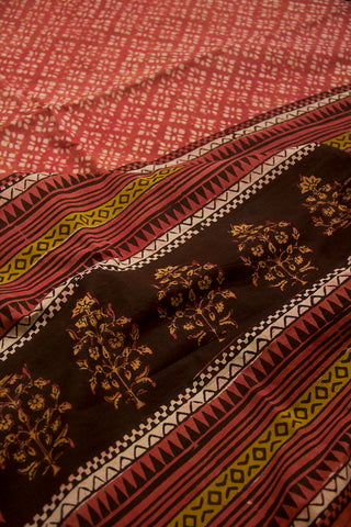 Peach Dabu Print Mul Cotton Saree