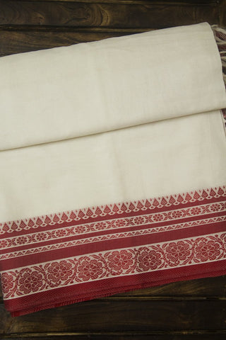 Offwhite with Red Traditional Border Cotton Saree