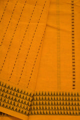 Mango yellow with Brown Handwoven Cotton Saree