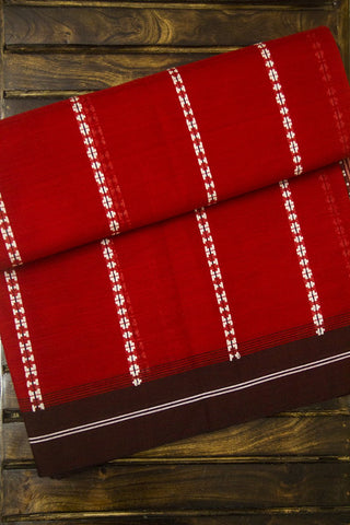 Red with Maroon Striped Cotton Saree