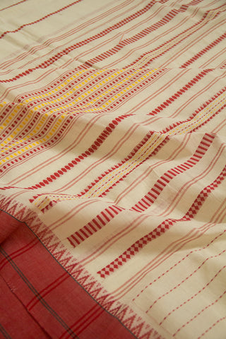 Off White with Red Dotted Stripes Handwoven Cotton Saree