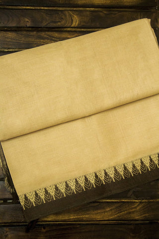 Beige Temple Border Light Weight Cotton Saree