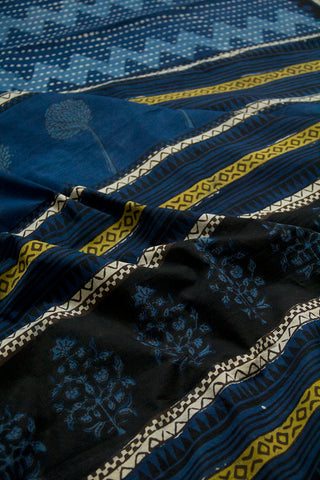 Indigo with White Dots Dabu Print Mul Cotton Saree
