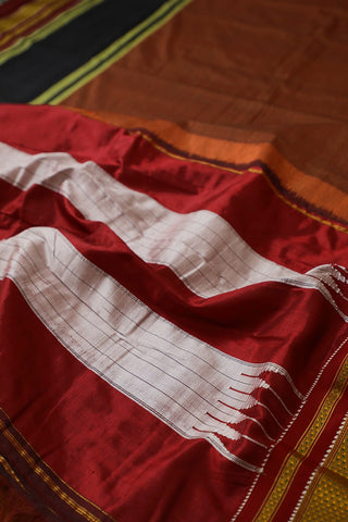 Double Shade Brownish Orange Ilkal Saree