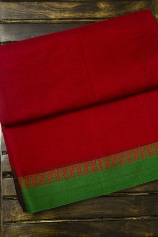 Red Ganga Jamuna Temple Border Bengal Cotton Saree