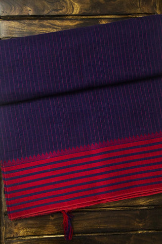 Blue with Red Handwoven Cotton Saree