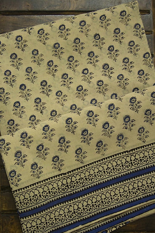 Off White with Blue Flower Bagru Print Mul Cotton Saree
