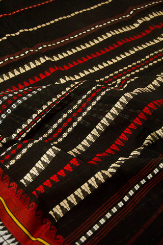 Black with Red arrow border Cotton saree