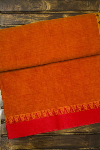 Orange Ganga Jamuna Temple Border Handwoven Saree