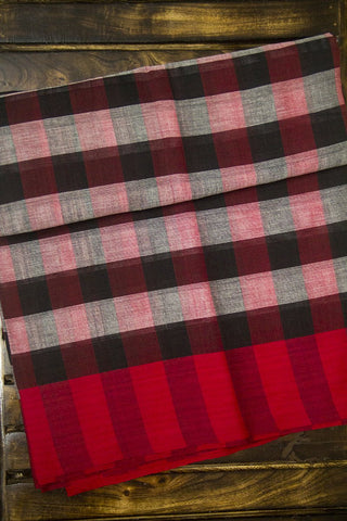 Red with black checkered Saree