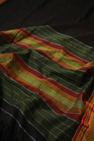 Black with Maroon Thread Border Ilkal Cotton Saree