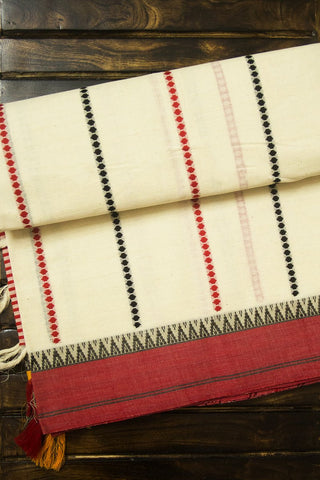 Offwhite with dotted stripes handwoven cotton saree