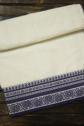 Offwhite with Indigo Bengal Fine Cotton Saree