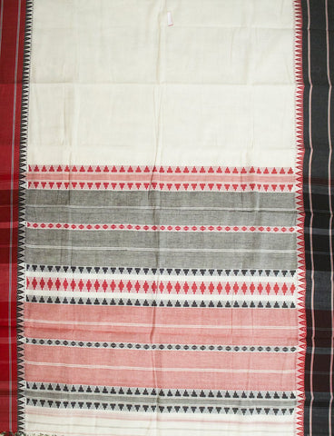 Offwhite Temple Border Handwoven Saree