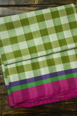 Green with pink checkered Handwoven Saree