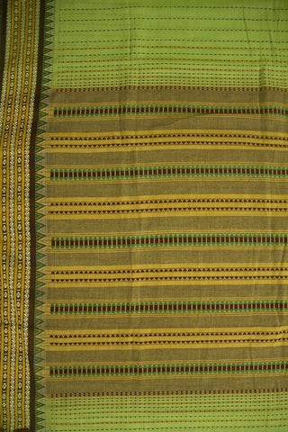 Green with Brown Kantha Stitch Cotton Saree