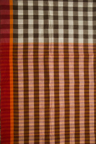 Checkered Handwoven Red Border Saree