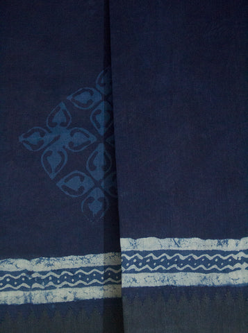 Dark Blue with Off White Block Printed Chanderi Saree