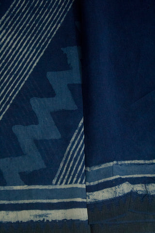 Indigo Blue with Off White Lines Block Printed Chanderi Saree