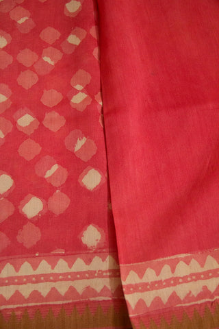Peach with Off White Diamond Block Printed Chanderi Saree