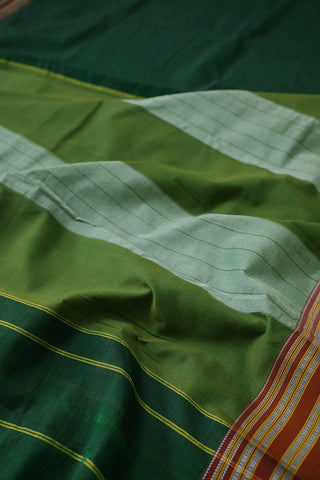 Green with Maroon Border Ilkal Cotton Saree