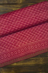 Dark Pink Triangles Block Printed Chanderi Saree