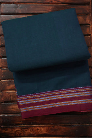 Maroon Border in Peacock Blue Ilkal Saree