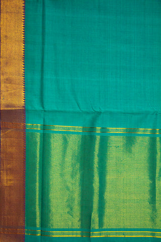Light Blue Green Handwoven Mangalagiri Cotton Saree