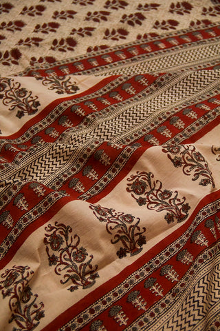 Maroon Flower Bagru Print Mul Cotton Saree