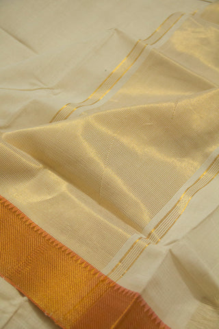Cream with Orange Handwoven Mangalagiri Cotton Saree