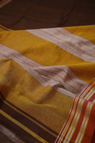 Black with Orange Pin Stripe Lines Ilkal Cotton Saree
