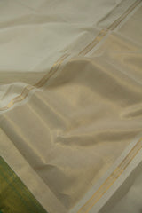 Off White with Green Border Handwoven Mangalagiri Cotton Saree