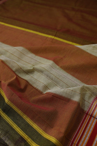 Double Shade Maroon with Yellow Pin Stripe Lines Ilkal Cotton Saree