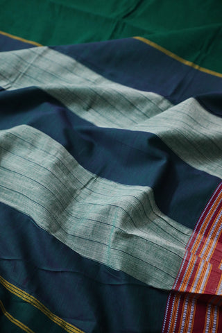 Dark Green with Maroon Border Ilkal Cotton Saree